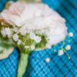 Close up of a groom's buttonhole — Stock Photo