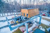 Ski lift ground engine structure — Stock Photo