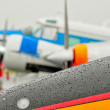 Abstract view of airshow during a rain storm — Stock Photo