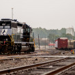 Parked black freight train — Stock Photo