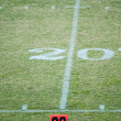 Football field 20 twenty yard line marke — Stock Photo