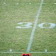 Football field 30 twenty yard line marke — Stock Photo