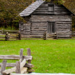 Beautiful Autumn scene showing rustic old log cabin surrounded b — Stock Photo