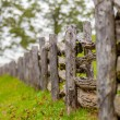 rustic home made split rail fence in the mountains of north caro — Stock Photo