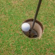 Photo: Golf ball on green, in front of hole,