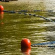 Water polo buoy on lake — Stockfoto