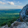 Beautiful aerial landscape views from crowders mountain near gas — Stock Photo
