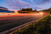 Evening commute traffic near lake wylie north and south carolina — Stock Photo