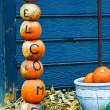 Pumpkins welcome sign decorations — Stock Photo