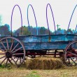 Stock Photo: Old hay rides trailer