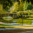Flagstone walking bridge at Freedom Park in Charlotte, North Car — Foto Stock