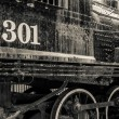 Stock Photo: Old black locomotive engine details