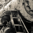 Old black locomotive engine details — Stock Photo #36445947