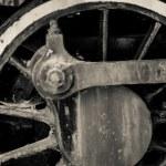 Old black locomotive engine details — Stock Photo