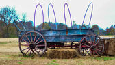 Old hay rides trailer — Stock Photo