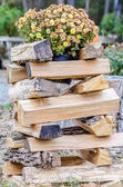 Stack of firewood ready for fireplace — Stock Photo