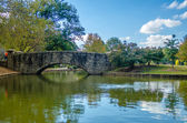 Flagstone walking bridge at Freedom Park in Charlotte, North Car — Stock Photo