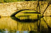 Flagstone walking bridge at Freedom Park in Charlotte, North Car — Stock Photo