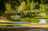 Flagstone walking bridge at Freedom Park in Charlotte, North Car — Stock Photo #36445795