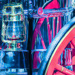 Detail of old horse fire engine carriage — Stock Photo