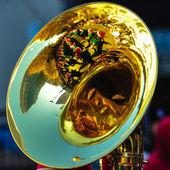 High school band tuba player — Foto Stock