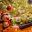 Lots os presents around christmas tree before christmas — Stock Photo #37881401