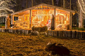 Visitors viewing live nativity play during christmas — Stock Photo