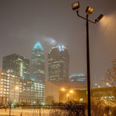Charlotte nc usa skyline during and after winter snow storm in january — Stock Photo