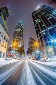 Charlotte nc usa panorama během a po zimě sněhová bouře v lednu — Stock fotografie
