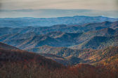 Sunset view over blue ridge mountains — Stock Photo