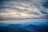 Sunset view over blue ridge mountains — Stock Photo #43356721