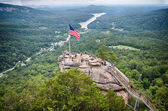 Overlooking chimney rock and lake lure — Stock Photo