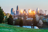 Charlotte skyline in the evening before sunset — Stockfoto