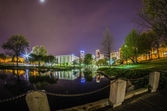 Charlotte skyline view from marshall park at night — Stockfoto