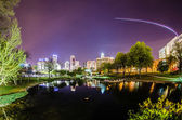 Charlotte skyline view from marshall park at night — Stock Photo