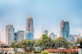 Early morning sunrise over charlotte city skyline downtown — Stock Photo
