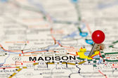 Madison pin on the map — Stock Photo