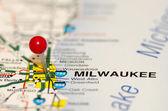 Milwaukee pin on the map — Stock Photo
