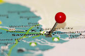 Savannah ga pin on the map — Stock Photo