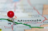 Missoula city pin on the map — Stock Photo