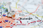 Raleigh city pin on the map — Stock Photo