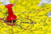 Charlotte Qc pin město na mapě — Stock fotografie