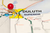 Duluth city pin on the map — Stock Photo
