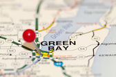 Green bay city pin on the map — Stock Photo