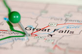 Great falls city pin on the map — Stock Photo