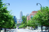 Looking at charlotte the queen city financial district from a di — Stock Photo