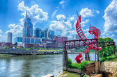 Nashville, Tennessee downtown skyline at Cumberland River. — Stock Photo