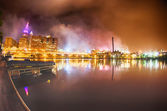 Cleveland. bilden av cleveland downtown på natten — Stockfoto