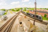Slow moving Coal wagons on railway tracks — Stockfoto