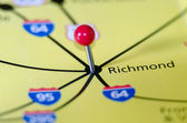 Richmond virginia pin othe map — Stock Photo